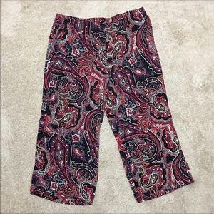 🎈J. Jill Black, Red Wide Leg Flowy Capris🎈